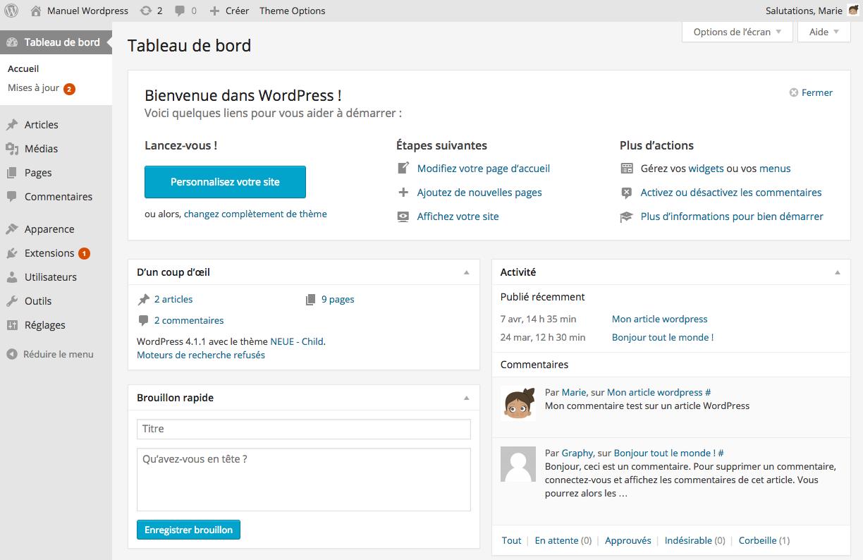 Le tableau de Bord de WordPress