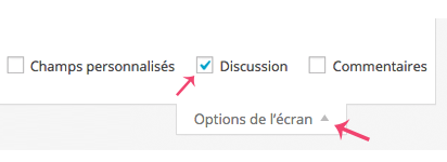 Activer l'option discussion des pages et des articles WordPress