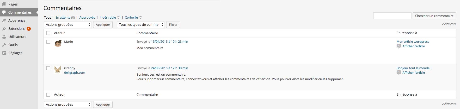 Les Commentaires de WordPress