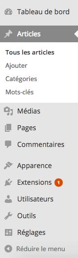 La barre latérale de WordPress