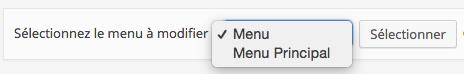 Sélectionner un menu WordPress pour le modifier