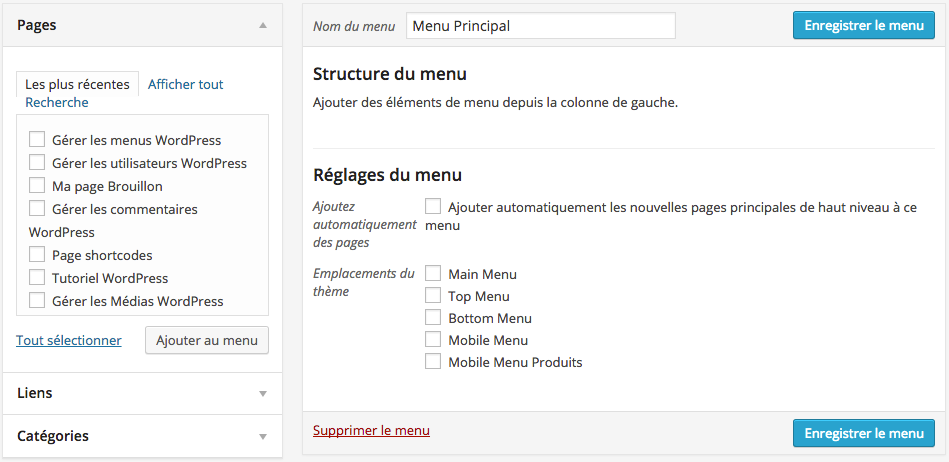 Comment créer un menu WordPress