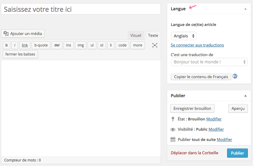 Information de langue d'une page WordPress