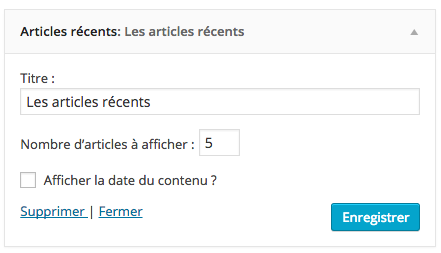 Supprimer un widget WordPress