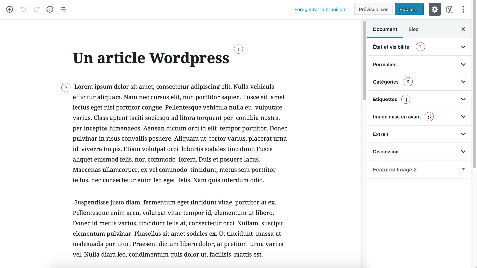 Les blocs de contenu des articles de WordPress