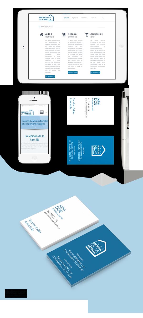 Site responsive et cartes de visite de Maison de la famille créé par Deligraph Agence web et studio graphique à Bruxelles