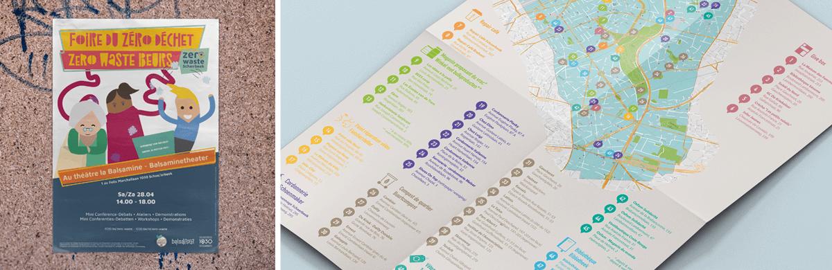 Illustration d'une affiche et d'un plan pour une commune - agence de communication visuelle