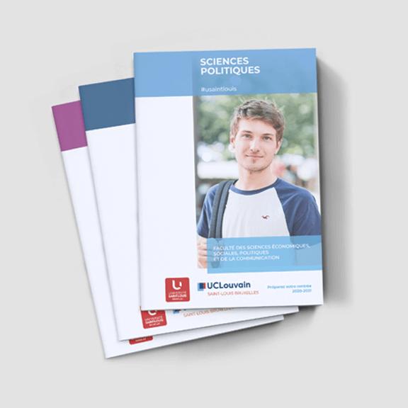 Mise en page de brochures facultaires pour une université - studio graphique