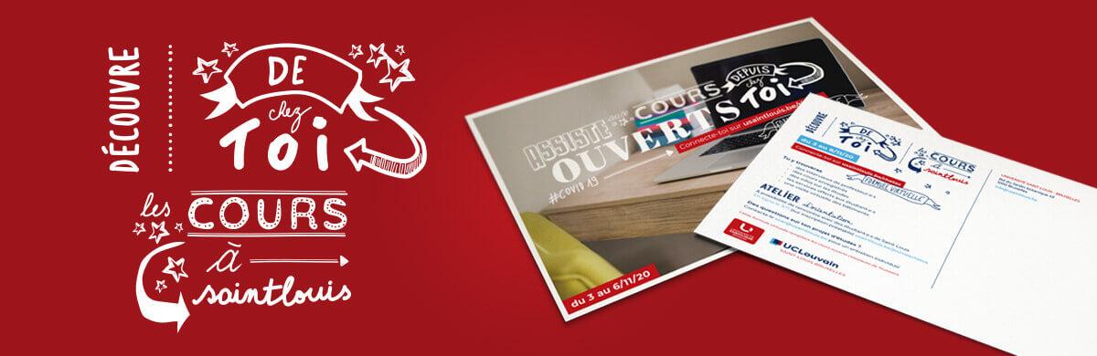 Mise en page et jeu typographique pour une carte postale destinée aux futurs étudiants de l'UCLouvain Saint-Louis