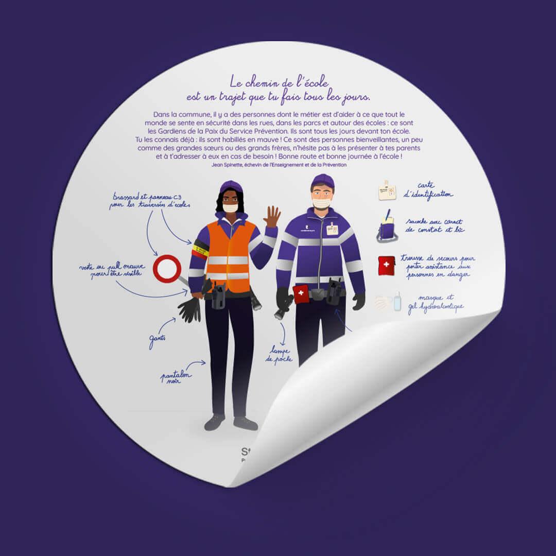 Illustration et typographie d'un stickers pour une Commune à Bruxelles
