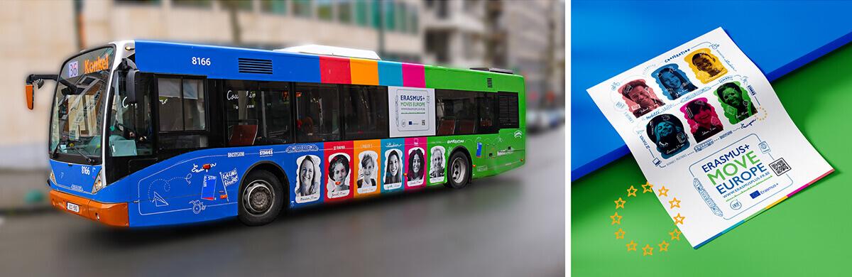 Covering complet de bus, affiches et rooftops pour la campagne Erasmus+ Moves Europe